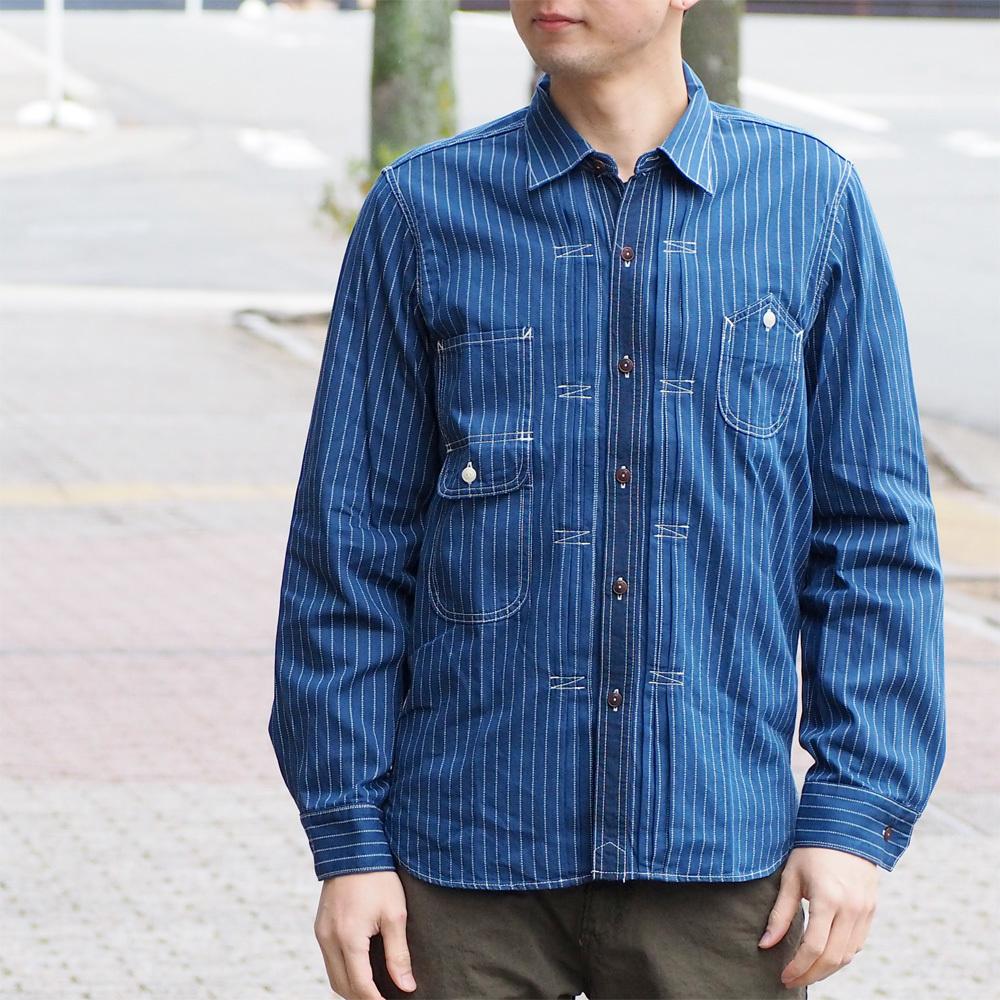 graphzero(グラフゼロ)エンジニアード ワークシャツ 長袖 インディゴウォバッシュ ストライプ メンズ レディース