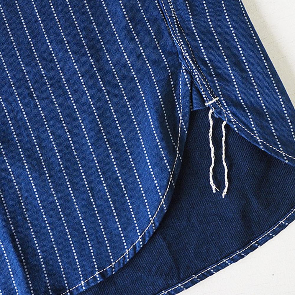 graphzero(グラフゼロ)エンジニアード ワークシャツ 長袖インディゴウォバッシュ ストライプ メンズ レディース