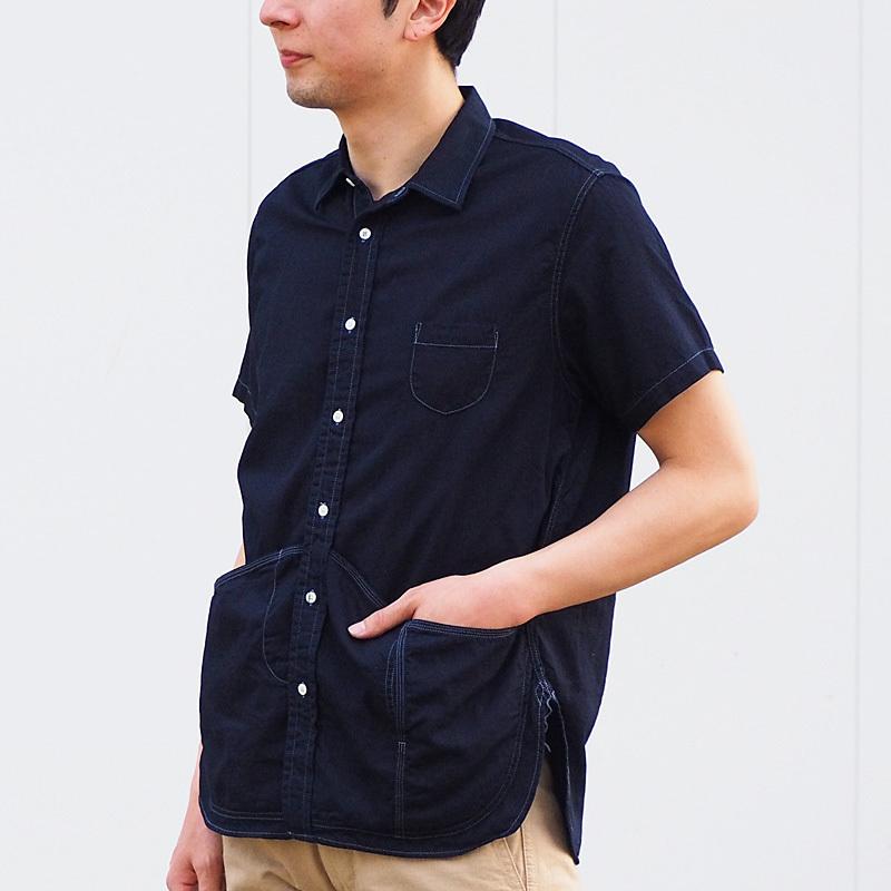 graphzero(グラフゼロ)ヘムポケットシャツ 半袖 ジンバブエコットン インディゴ メンズ