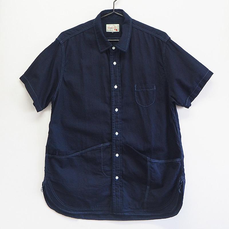 graphzero(グラフゼロ)ヘムポケットシャツ 半袖 ジンバブエコットン インディゴ レディース