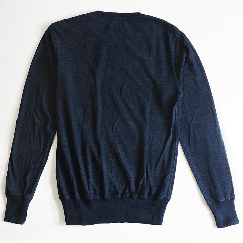 graphzero(グラフゼロ)インディゴロープ染色 山ポケット クルーネックTシャツ長袖 メンズ