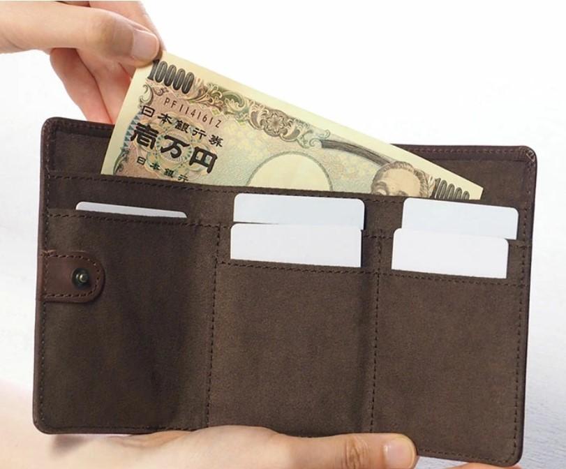 havito(ハビト) by waji(ワジ)glart 三つ折り財布 デザイン硝子×オイルレザー アンティークドア ブラウン