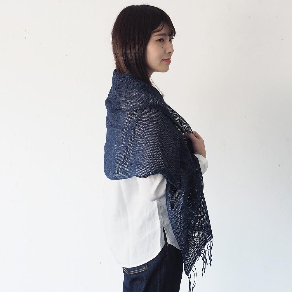 kobooriza-工房織座- もじり織り ジーンズストール コットン100%