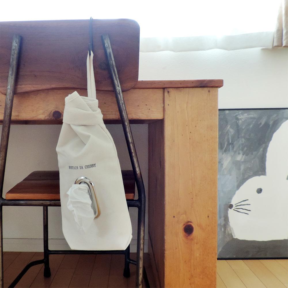 【丸洗いOK!】MOUNTAIN DA CHERRY (マウンテン ダ チェリー) 倉敷帆布4号キャンバス ボックスティッシュケース 生成り
