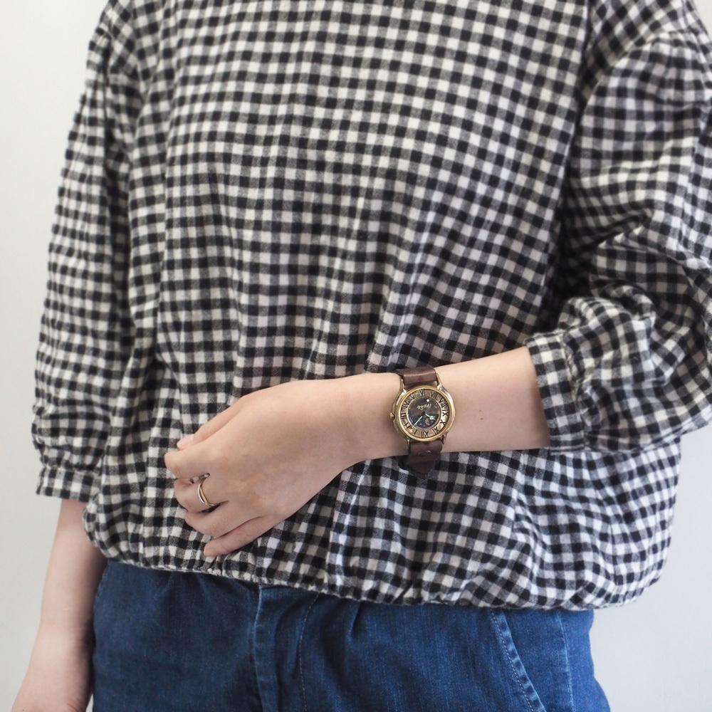 """渡辺工房 手作り腕時計""""J.B. SUN&MOON"""" ジャンボブラス"""