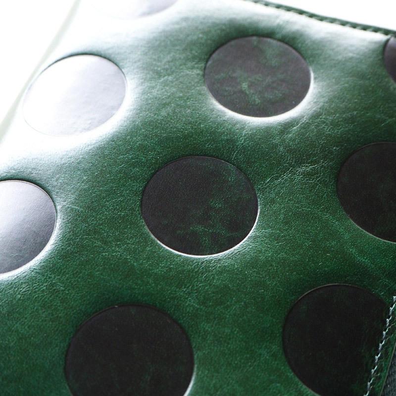 ZOO(ズー) イタリアンレザー 型押しドット柄 チーターウォレット2 L字ファスナー 長財布グリーン