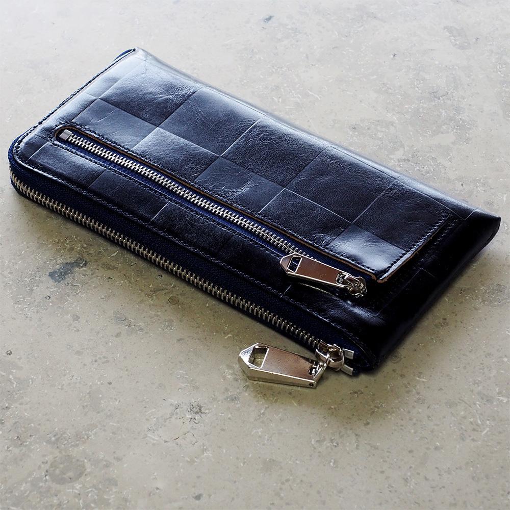ZOO(ズー) L字ファスナー 長財布 イタリアンレザー 型押しブロックチェック柄 チーターウォレット3 ネイビー